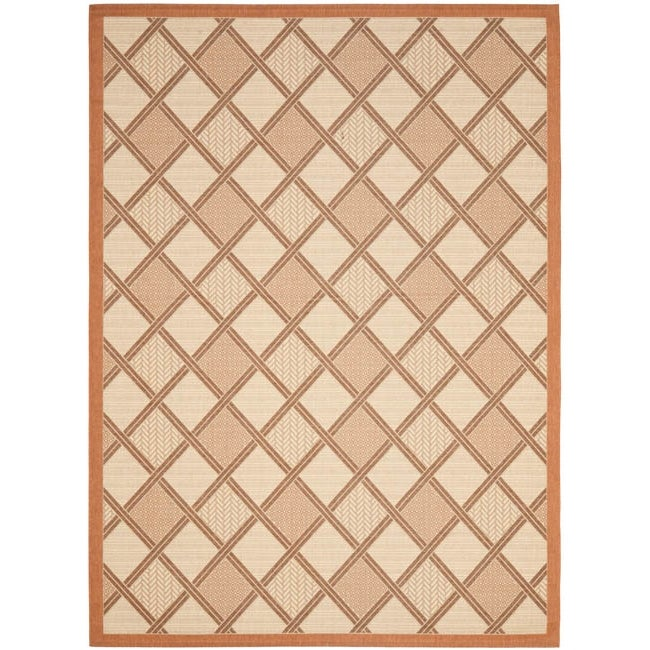 Safavieh Cream/ Terracotta Geometric Indoor Outdoor Rug - 8' x 11'2
