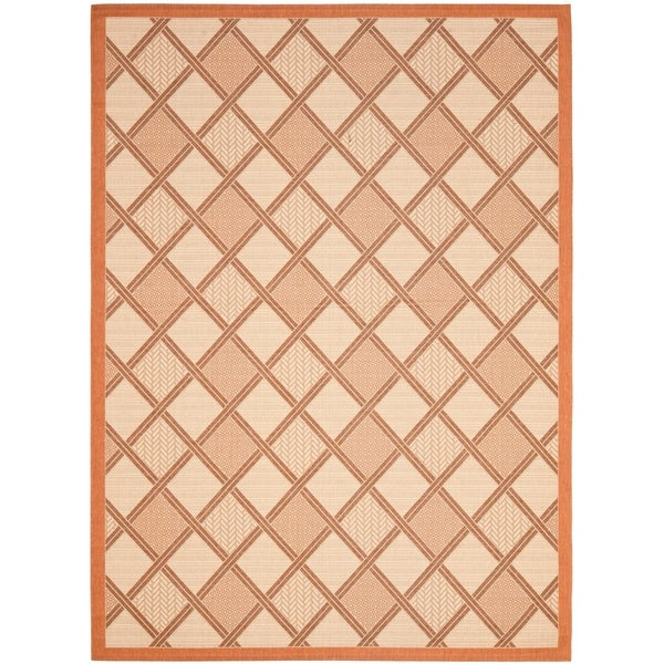 Safavieh Cream/ Terracotta Geometric Indoor Outdoor Rug - 8' X 11'