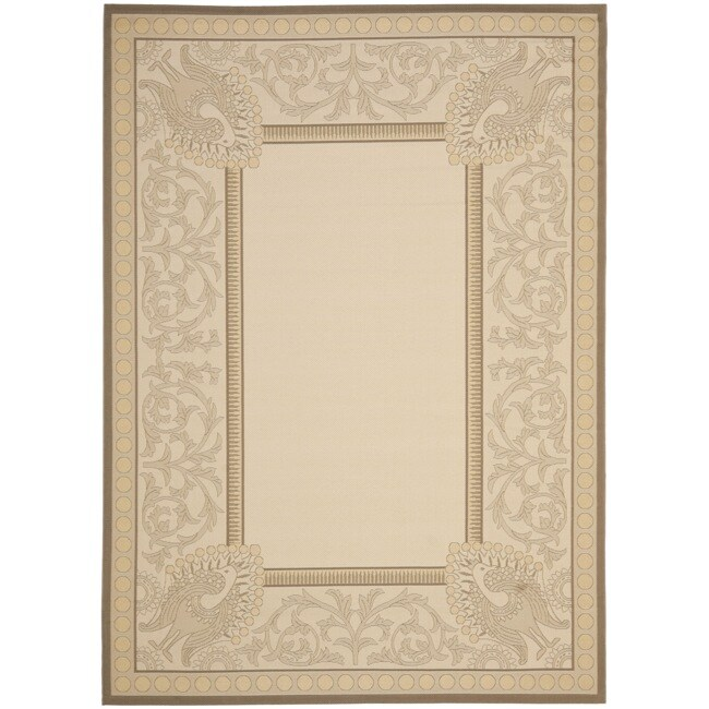 Safavieh Floral-Print Beige/Dark Beige Indoor/Outdoor Rug - 5'3 x 7'7