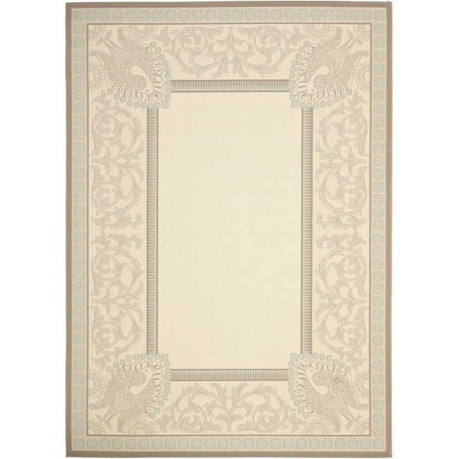 Safavieh Beige/ Dark Beige Indoor Outdoor Area Rug - 8' x 11'2
