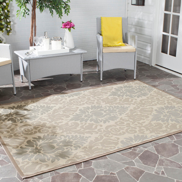 Safavieh Beige/ Dark Beige Indoor Outdoor Power-loomed Rug (8' x 11'2)
