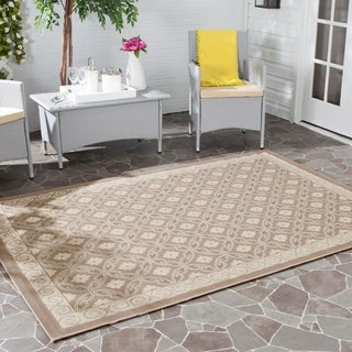"Safavieh Dark Beige/Beige Indoor/Outdoor Polypropylene Rug (5'3"" x 7'7"")"