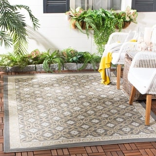 Safavieh Dark Grey/ Light Grey Geometric Indoor Outdoor Rug - 4' x 5'7
