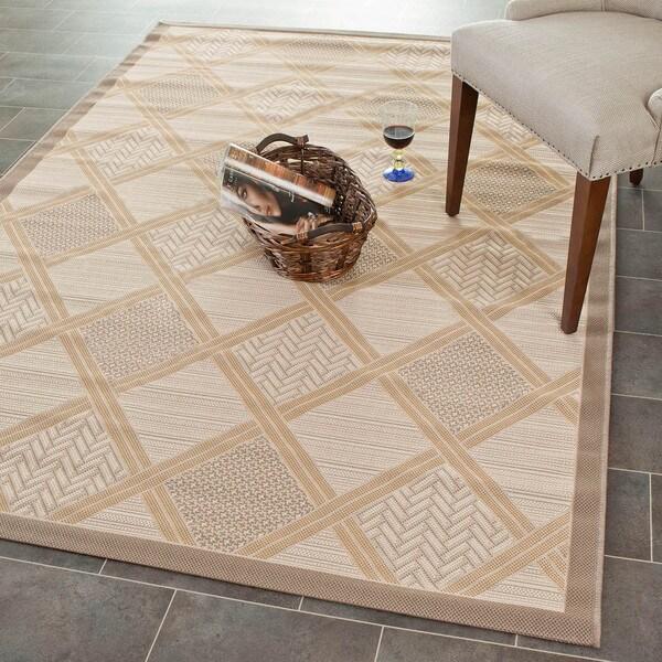 """Safavieh Beige/ Dark-Beige Element-Resistant Indoor/ Outdoor Powerloomed Area Rug (4' x 5'7"""")"""
