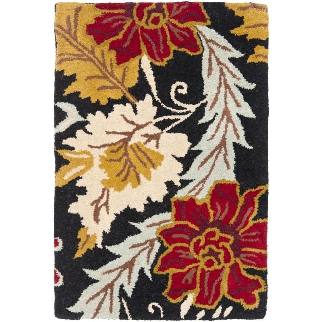 Safavieh Handmade Blossom Black Wool Rug (2' x 3')