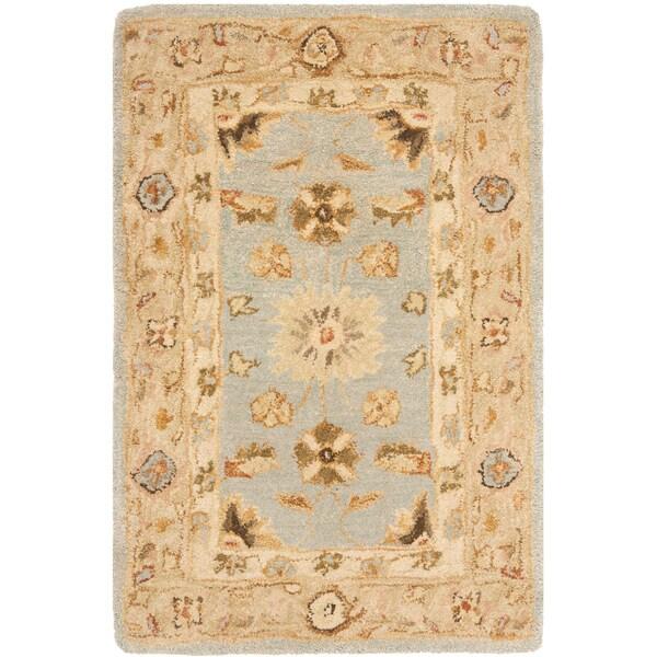 Safavieh Handmade Anatolia Farahan Light Blue/ Sage Wool Rug (2' x 3')