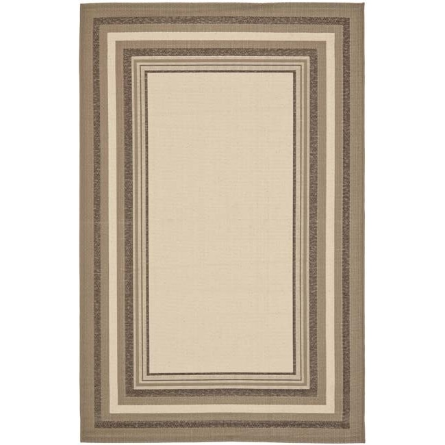 Safavieh Water-resistant Beige/ Dark Beige Indoor Outdoor Rug (8' x 11'2)