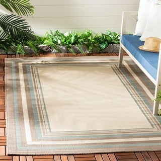 Safavieh Beige/ Blue Indoor Outdoor Rug (5'3 x 7'7)