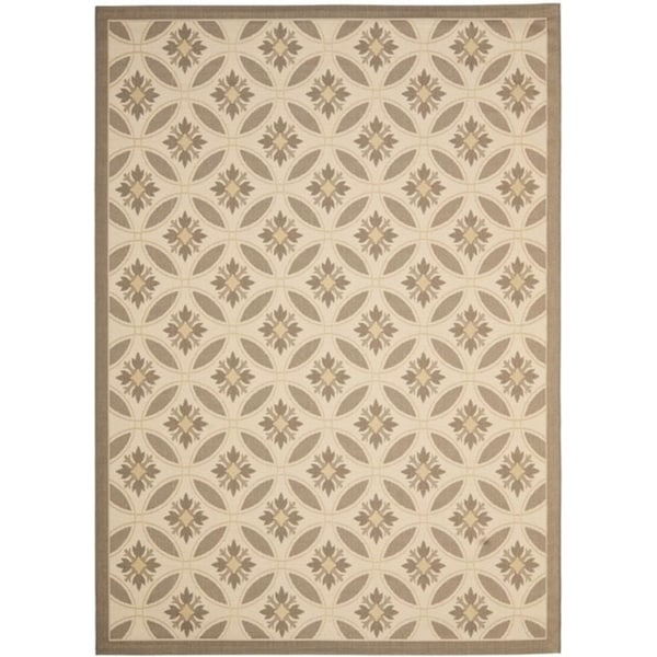 Safavieh Beige/ Dark Beige Indoor Outdoor Rug - 8' x 11'2