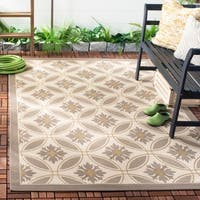 Safavieh Contemporary Beige/Dark Beige Indoor/Outdoor Rug - 6'7' x 9'6'