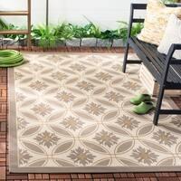 Safavieh Beige/ Dark-Beige Geometric Element-Resistant Indoor/ Outdoor Polypropylene Area Rug - 4' x 5'7