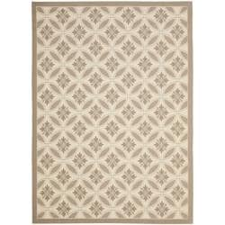 Safavieh Mold-resistant Beige/ Dark Beige Indoor Outdoor Rug - 8' x 11'2 - Thumbnail 0