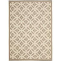 Safavieh Mold-resistant Beige/ Dark Beige Indoor Outdoor Rug - 8' x 11'2