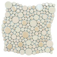 SomerTile 11.25x12-inch Posh Bubble Almond Porcelain Mosaic Wall Tile (10 tiles/9.4 sqft.)