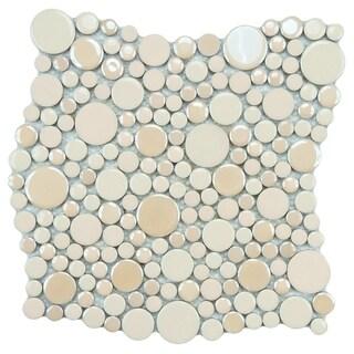 SomerTile 11.25x12-inch Posh Bubble Almond Porcelain Mosaic Wall Tile (Case of 10)