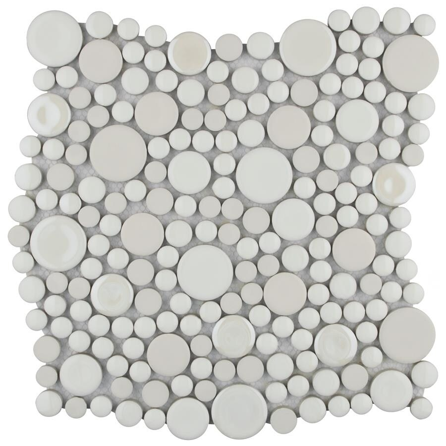 SomerTile 11.25x12-inch Posh Bubble White Porcelain Mosaic Wall Tile (10 tiles/9.4 sqft.) (CASE-Posh Bubble)