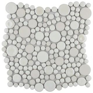SomerTile 11.25x12-inch Posh Bubble White Porcelain Mosaic Wall Tile (Case of 10)