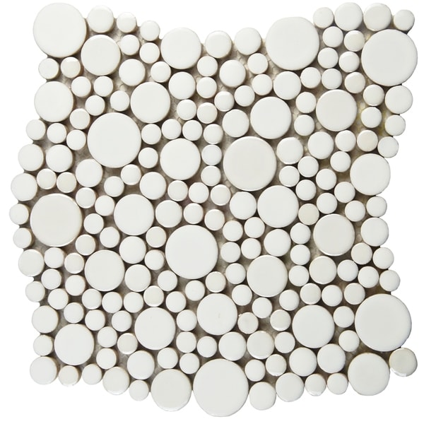 SomerTile 11.25x12-inch Posh Bubble White Porcelain Mosaic Wall Tile (10 tiles/9.4 sqft.)