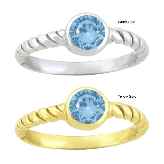 10k Gold Bezel-set Synthetic Blue Zircon Contemporary Round Ring