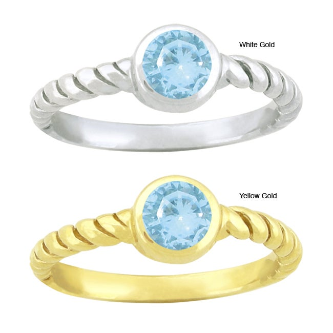 10k Gold Round-cut Synthetic Aquamarine Contemporary Round Ring