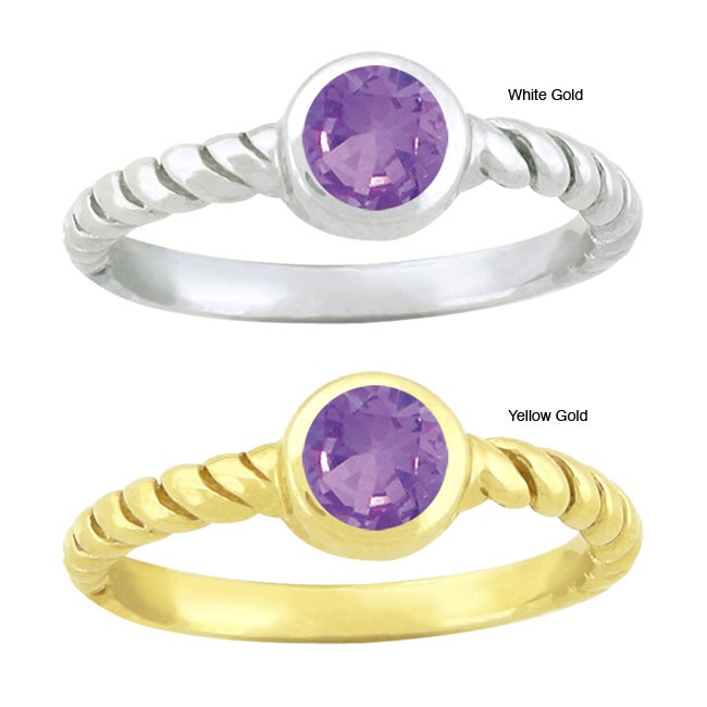 10k Gold Round-cut Synthetic Amethyst Contemporary Round Ring