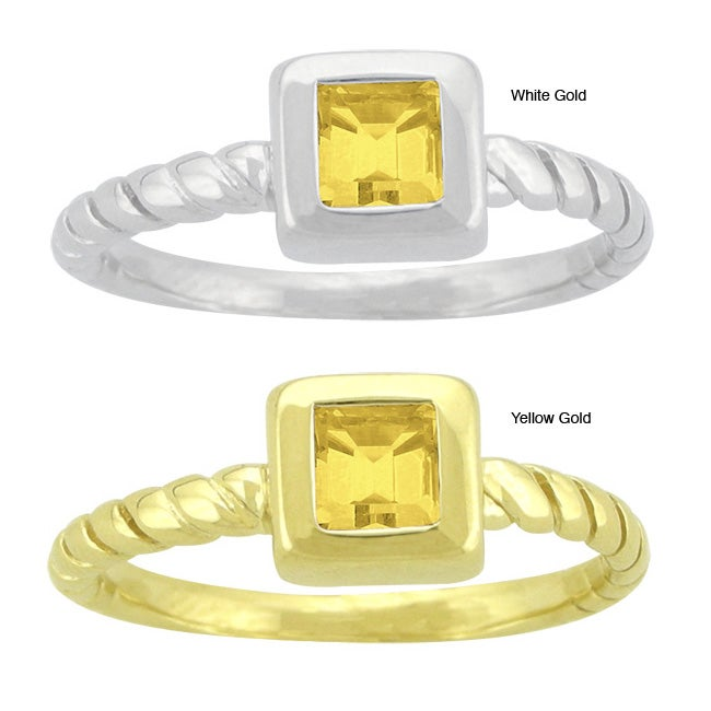 10k Gold Prong-set Synthetic Golden Topaz Contemporary Square Ring