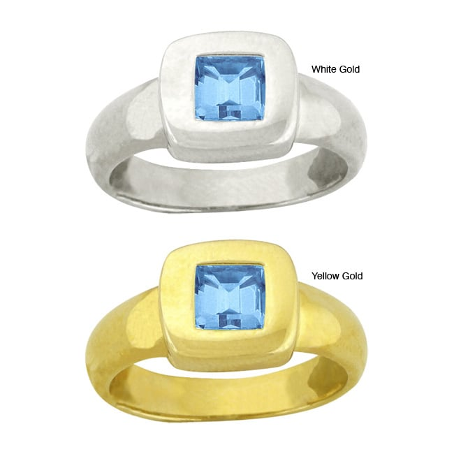 10k Gold Prong-set Synthetic Blue Zircon Contemporary Square Ring