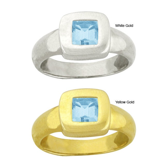 10k Gold Synthetic Aquamarine Contemporary Square Ring