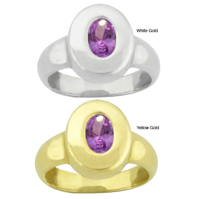 10k Gold Synthetic Amethyst Contemporary Oval Ring