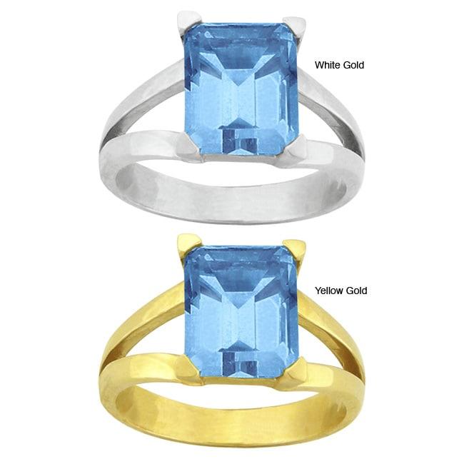 10k Gold Synthetic Blue Zircon Contemporary Split Shank Ring