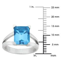 10k Gold Synthetic Blue Zircon Contemporary Split Shank Ring - Thumbnail 2
