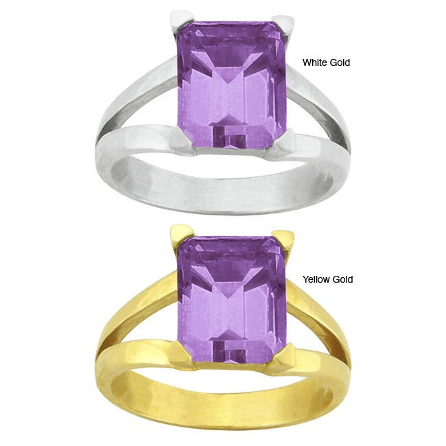 10k Gold Emerald-cut Synthetic Amethyst Contemporary Split Shank Ring