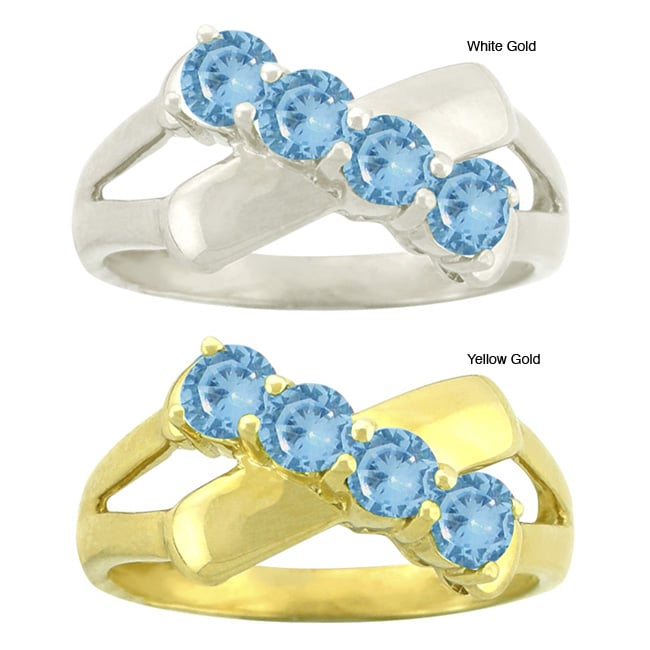 10k Gold Synthetic Blue Zircon Contemporary 4-stone Ring