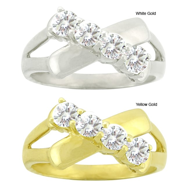 10k Gold Synthetic White Zircon Contemporary 4-stone Ring