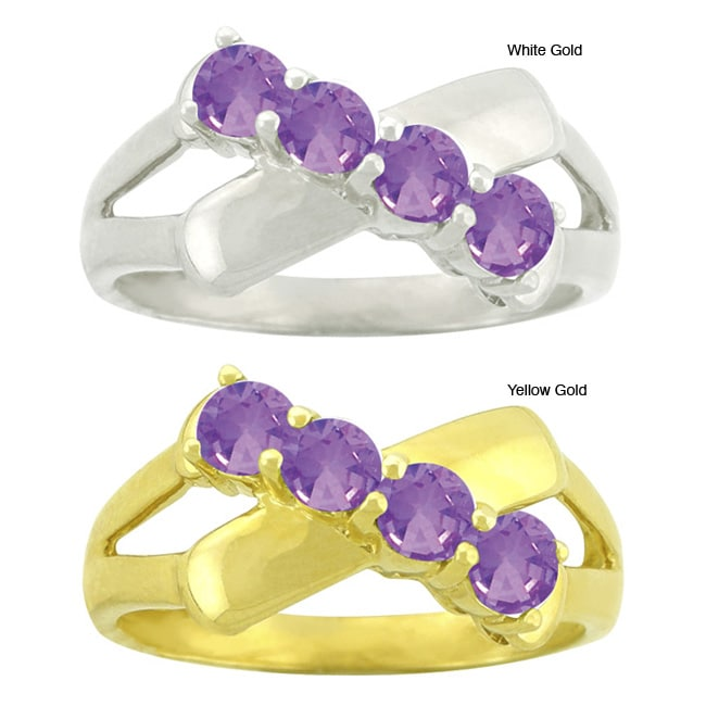 10k Gold Synthetic Amethyst Contemporary 4-stone Ring
