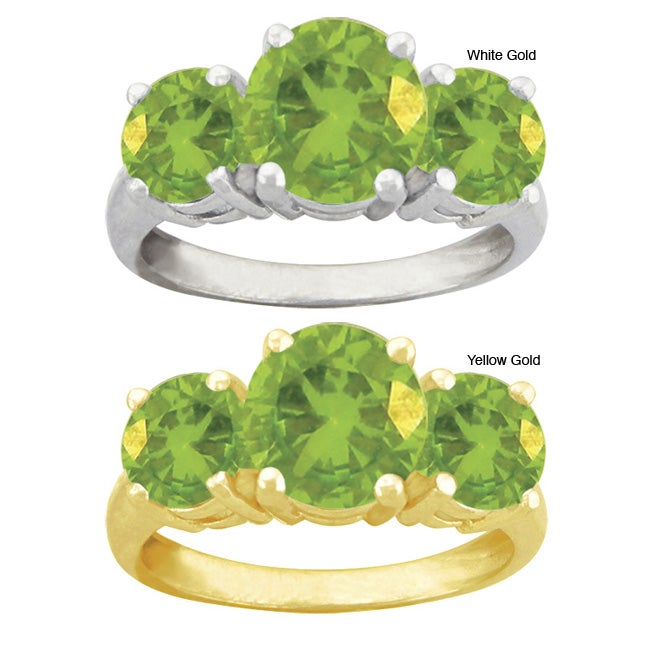 10k Gold Round Synthetic Peridot 3-stone Ring