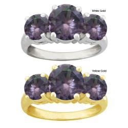 10k Gold Round Synthetic Alexandrite 3-stone Ring