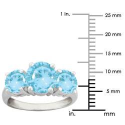 10k Gold Round Synthetic Aquamarine 3-stone Ring