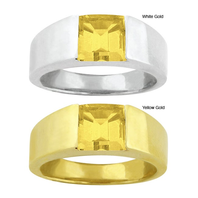 10k Gold Synthetic Golden Topaz Contemporary Square Ring