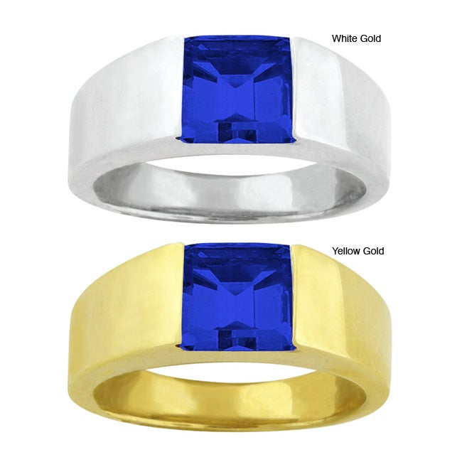 10k Gold Synthetic Sapphire Contemporary Square Ring
