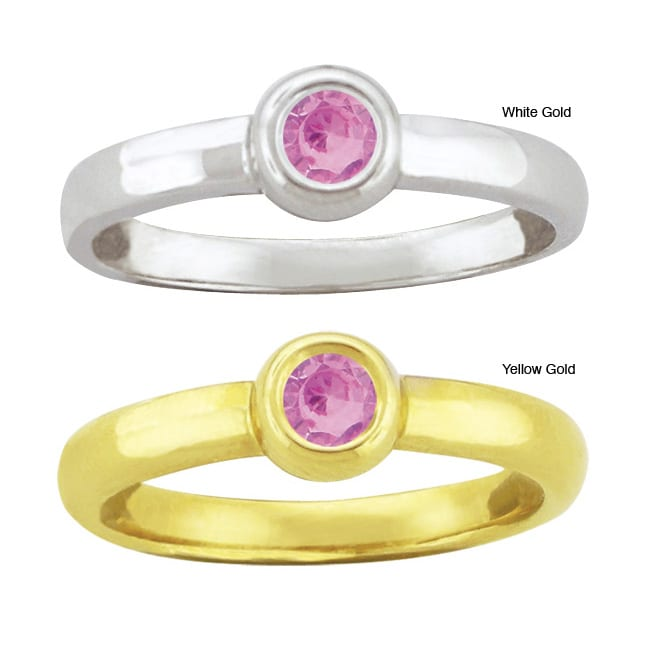 10k Gold Synthetic Rose Zircon Contemporary Round Ring