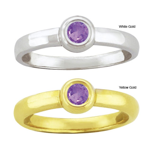 10k Gold Synthetic Amethyst Bold Contemporary Ring