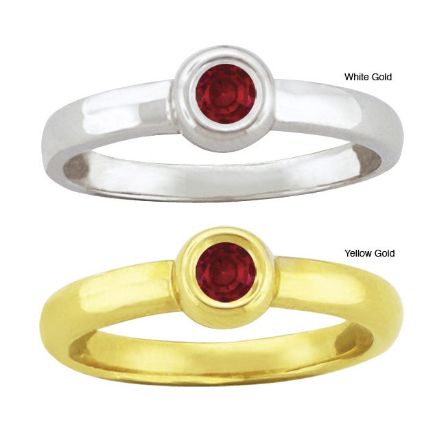 10k Gold Synthetic Garnet Bold Contemporary Ring