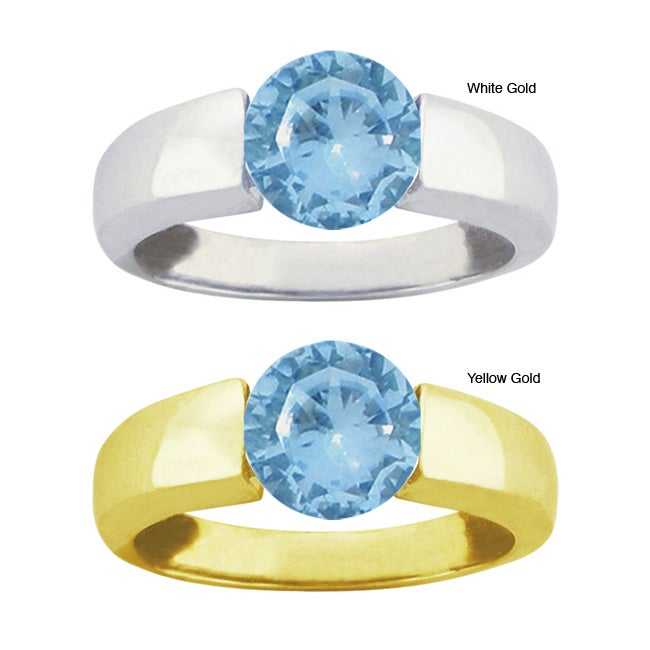 10k Gold Synthetic Blue Zircon Bold Contemporary Ring