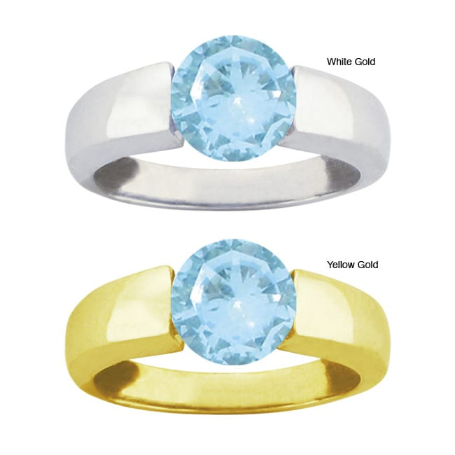 10k Gold Round-cut Synthetic Aquamarine Bold Contemporary Ring