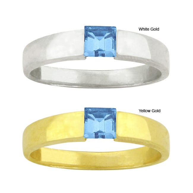 10k Gold Synthetic Blue Zircon Square Contemporary Ring