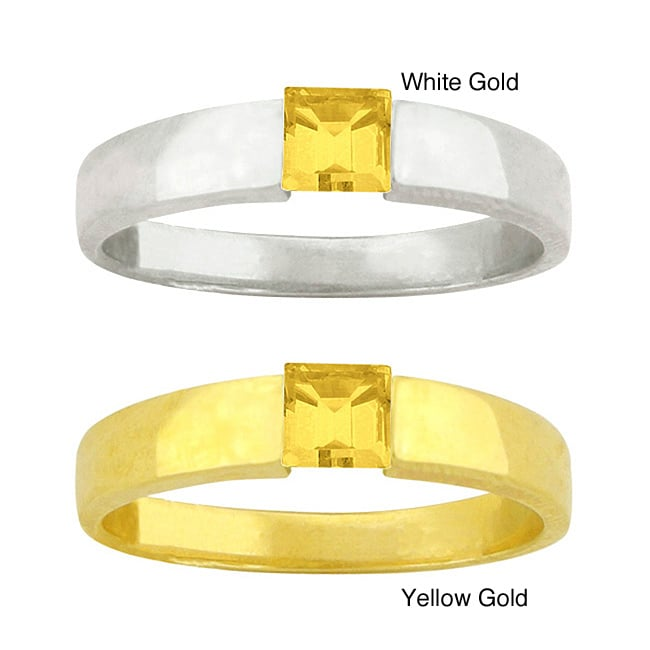 10k Gold Synthetic Golden Topaz Contemporary Ring