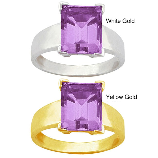 10k Gold Emerald-cut Synthetic Amethyst Solitaire Ring