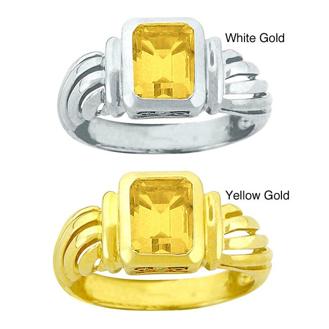 10k Gold Synthetic Golden Topaz Solitaire Ring