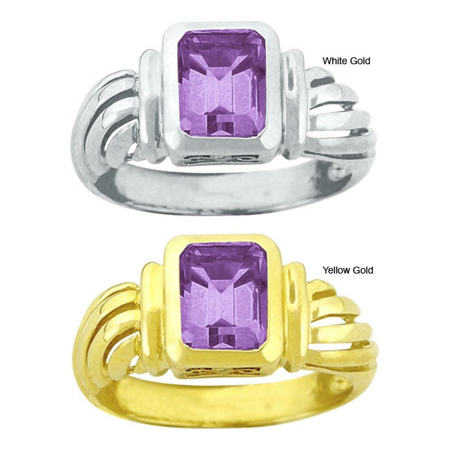 10k Gold Synthetic Amethyst Contemporary Octagon Ring - Thumbnail 0